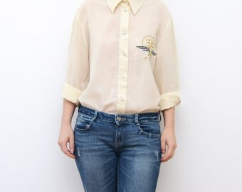Vintage ivory white golden compass navy shirt / boyfriend fit shirt