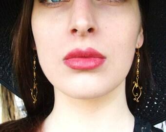 Earth Goddess Vine Earrings--Long Delicate Flower Dangle Chandelier Feminine Morning Glory Gold Brass Earrings