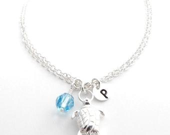 Turtle Bracelet in Sterling Silver Personalized New Mom Bracelet & Birthstone, Silver Turtle Jewelry, Sea Turtle, Monogram Initial Bracelet
