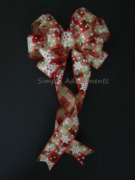Red Green Christmas Plaid Bow Snowflakes Burlap Christmas Plaid Bow Country Plaid Bow Winter Garland Swag Bow Gifts Bow