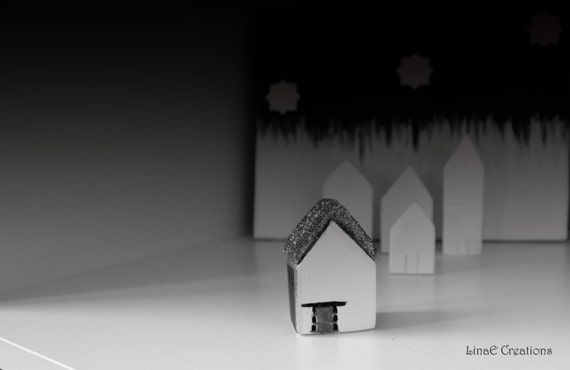 Minimal black white silver miniature clay house, spring summer home decoration