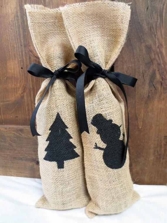 Items similar to set of 2 christmas burlap gift bags wine Burlap bag decorating ideas