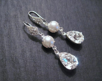 Clear Swarovski Crystal and Pearl Drop Earrings/ Bridal Jewelry/ Bridesmaid Jewelry/ Crystal Earrings/ Pearl Earings
