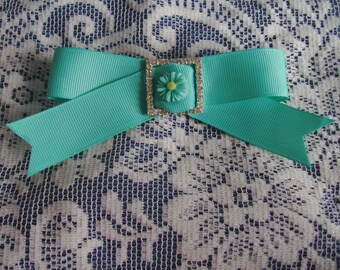 French Barrette - Rhinestone Studded Bow Barrette - Traditional Bow - Mint French Barrette Hair Bow - Elegant Hair Bow - Boutique Barrette