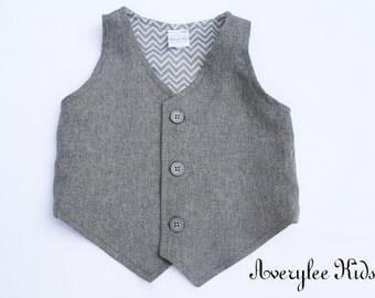Hugo Boys Grey Vest, Infant to Teen, Wedding Ring Bearer, Toddler Vest, Boys Gray Vest