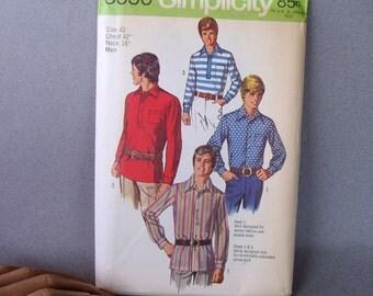 VINTAGE Men's Shirt Pattern / Chest 42 Neck 16 / Uncut / 1970s Sewing Pattern / Vintage Mens Fashion
