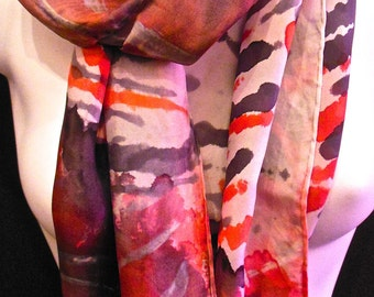 """Tiger Rose SILK SCARF. Hand Painted Silk Scarf by New York City artist Joan Reese/100%Silk/11''x60"""" Free Shipping"""