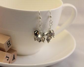 Swarovski crystal dangle earrings - Smokies clusters