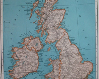 1945 Vintage BRITISH ISLES MAP Antique United Kingdom 1940s Map  Plaindealing 6025