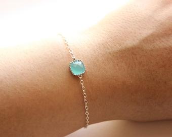 Silver Chain Bracelet - Delicate Bracelet - Aqua/Mint Glass Stone Pendant Bracelet