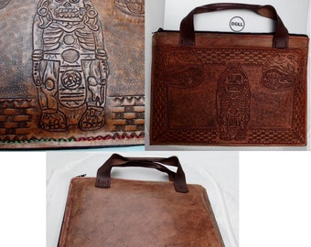Custom Hand Tooled Briefcase Style Laptop Computer or Tablet Bag Case. Made to fit. Your image/design or idea.