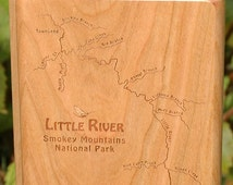 Fly Box - LITTLE RIVER Smokey Mountains National Park Fly Fishing Map  - Handcrafted,  Custom Engraved with Name, Inscription,  Fish Art