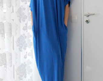 Blue Caftan Dress, Maxi Dress, Oversized dress, Kaftan, Abaya, Summer Dress, Casual Dress, Day dress, Cover up dress