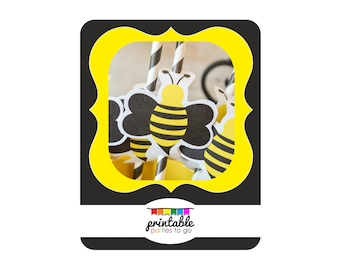 INSTANT DOWNLOAD BEE Printable Straw Toppers - Please Read Description Thoroughly - Printable Parties to Go