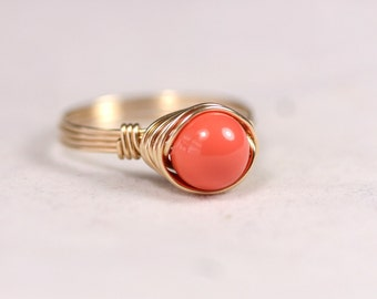 Gold Coral Ring Wire Wrapped Jewelry Handmade Orange Coral Ring Rose Gold Ring Rose Gold Jewelry Pink Gold Ring Swarovski Pearl Ring