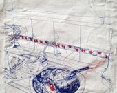 Thread drawing Home sweet home serie blue red kitchen stitch
