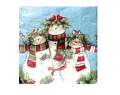 XL Dinner Napkins Full Package 20count Dinner Size Paper Napkins Adorable SNOWMAN FAMILY Winter Holiday Christmas Napkins