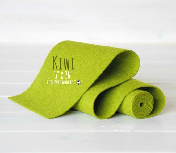 "100% Wool Felt Roll - 5"" x 36"" Wool Felt Roll - Wool Felt Color Kiwi-1030 - Green Wool Felt - Kiwi Color Felt - Wool Felt Rolls"