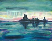 ORIGINAL Acrylic Painting - Rain City - 11x14 Stormy Rainy City Art