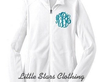 Women's White MONOGRAMMED Full Zip Micro Fleece Jacket Available in sizes S-2XL