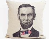 Abe Lincoln Pillow, Decorative Throw Pillow, Throw Pillow Cushion Cover, Linen Pillow, Pillow Cover, American Flag Decor