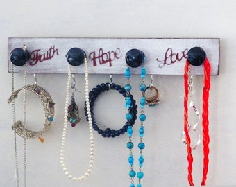 Faith Hope Love Jewelry Organizer...Inspirational Necklace Hanger, Silver & Blue. Great for the Dorm Room or as a Closet Organizer