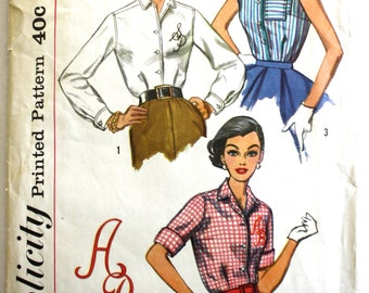 Vintage 1950s Womens Sleeveless/Long Sleeved Monogram Collared Blouse Sewing Pattern Size 12 Simplicity 2195