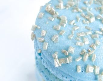 French Macaron Cookies 12 Gold Glitter Sugar Baby Blue Macaroons Gift Splendid Sweet