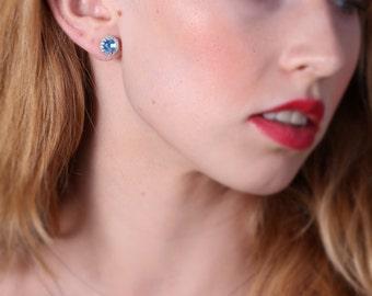 Silver earrings, aquamarine earrings, sterling silver, post silver earrings, wedding earrings, silver studs - 20052