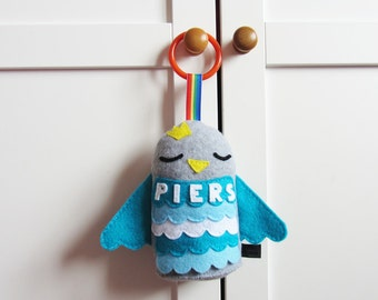 Personalised Baby Toy: Plush Hanging Toy Bird Rattle