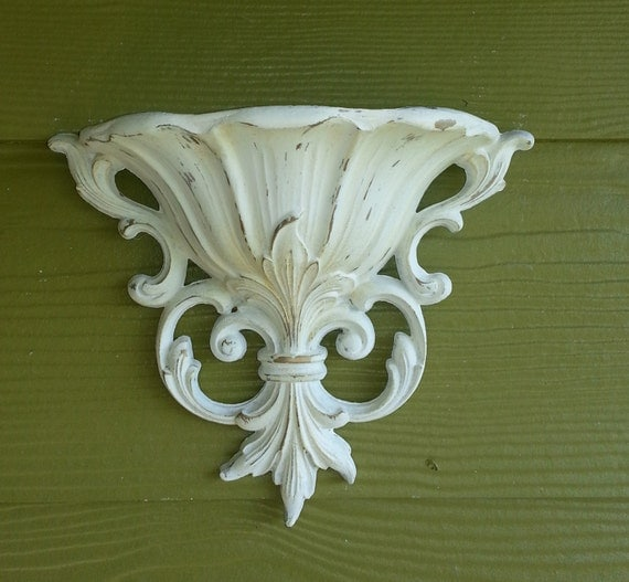 White Distressed Wall Sconce & Plant Holder
