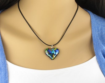 Fused Glass Jewelry, Dichroic Jewelry, Dichroic Heart,  Fused Glass Pendant, Glass Heart, Fused Glass, Dichroic Pendant