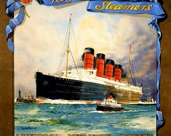 Art Print Cunard Line Lusitania Travel Poster Print - 1907