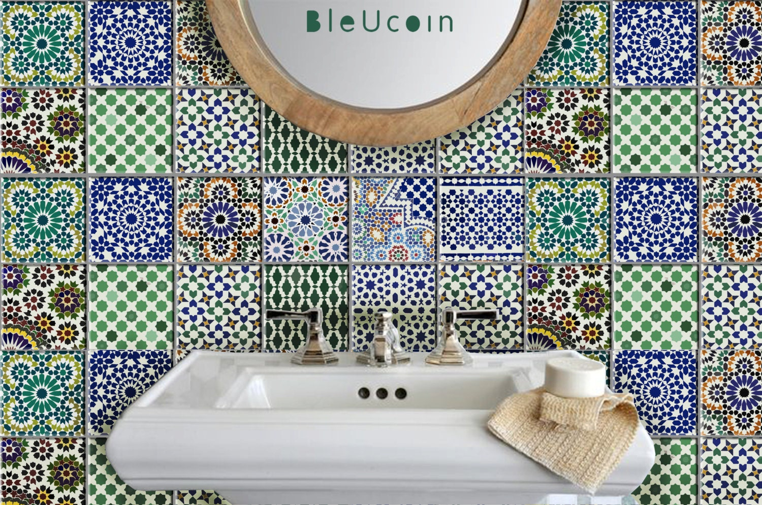 Moroccan tile wall floor decal kitchen bathroom indoor for Bathroom tile stickers