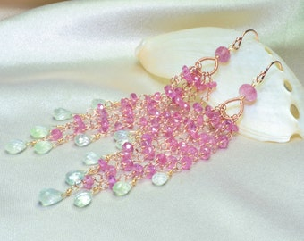 Pink Sapphire with Prehnite Rose Gold Filled Tassel Earrings