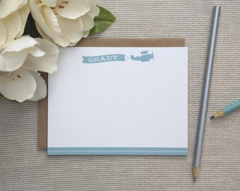 Personalized Stationery. Airplane Stationery / Notecards. Personalized Stationery for Kids. Baby Boy Thank You Notes. Plane. Stationary.
