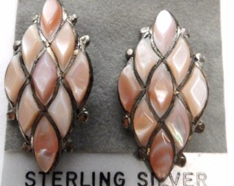 Estate Vintage Pink Abalone Sterling Earrings for Pierced Ears