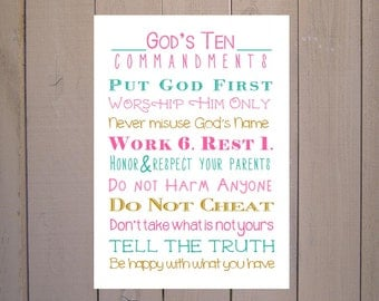 10 Commandments Print. Exodus 20. Print and Pop into any frame. DIY Instant Downloadable File. Ten Commandments for Nursery