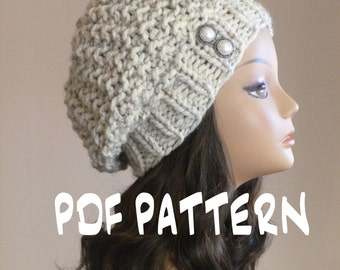 Knit Hat Pattern, Knitting Pattern Slouchy Beret, Knitted Slouchy Hat Pattern, Knit Slouchy Hat Pattern,Women's Hand Knit Hat Pattern