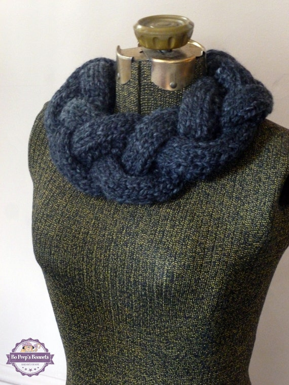 Knitted Braided Cowl Necklace Infinity Scarf by BoPeepsBonnets