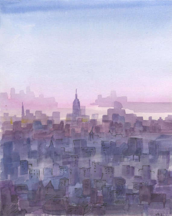 New York City Sunset Watercolor New York Cityscape Painting