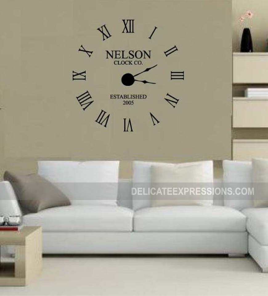Large Wall Clock Decal Kit Custom Family Name With Year