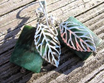 Silver Leaf Chrysoprase Earrings