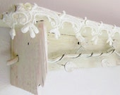Barn Wood Wall Shelf // Reclaimed Re-purposed Vintage Wood Lace Wrought Iron // White Pink
