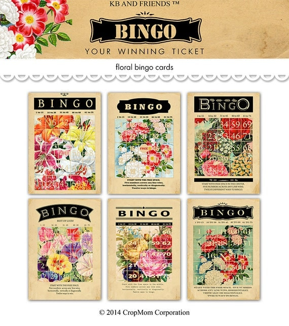 Digital vintage floral bingo cards by KB and Friends™.