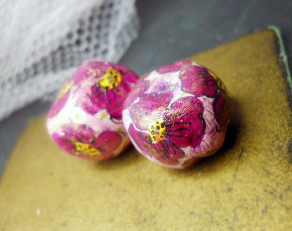 Illustrated Paper Clay Beads - 2 Rustic Embellished Floral Beads - Hand Drawn Flowers - Super Chunky Primitive Pair - Purple & Yellow Beads