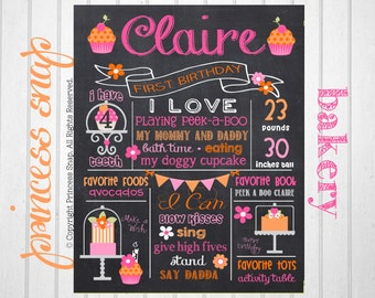 First Birthday Chalkboard Poster Sign - Cupcake and Bakery Party- Printable - Digital File JPG - Baby's First Birthday