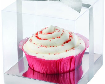 formal cupcake boxes clear 20 ct bakery gift boxes weddings bridal shower party favors clear w silver ribbon