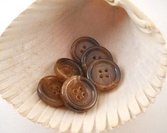 BUTTONS:  Brown marbled button, 4 hole, traditional, 7/8 inch, set of 6