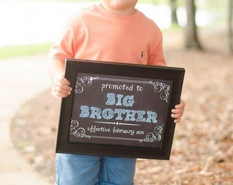Promoted to Big Brother/Sister Chalkboard Printable file - pregnancy announcement/ we're expecting document